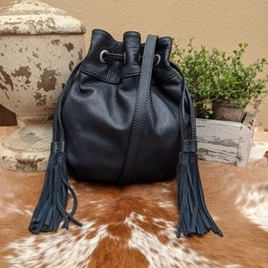 American Eagle Navy Blue Leather Bucket Bag